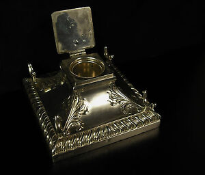 British Inkwell From Sheffield Hawksworth Eyre Silver 1899 Inkwell Ag 925