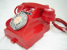 Original Bakelite GPO Red 328 telephone converted & restored bell on - off    P3