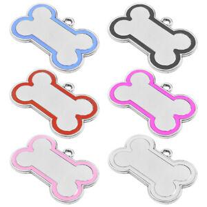 CHROME METAL BONE ENGRAVED DOG ID NAME TAG DISC PERSONALISED PET IDENTITY TAGS