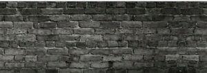 Küchenrückwand Fototapete Wallprint 60 x 220 cm Fotoprint Ziegelwand schwarz