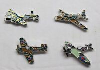 WW2 RAF Spitfire Hurricane & Lancaster Military Aircraft Metal Enamel Badge 4Set
