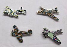 WW2 RAF Spitfire Hurricane & Lancaster Military Aircraft Metal Enamel Badge 4Set