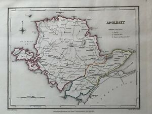 1848 Anglesey, Wales Original Antique Hand Coloured Map 172 Years Old