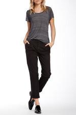 NWT Vince Cotton Side Buckle Pleat Front Stretch Black Pants Slacks 6 VX04820706