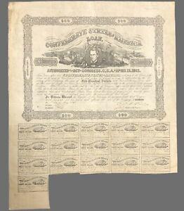 """Confederate States Of America 1862 $500 Civil War loan bond  17x14"""""""