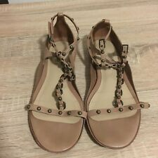 DKNY Donna Karan Brown Ladies Leather Flat Strappy Studded Sandals Size 5