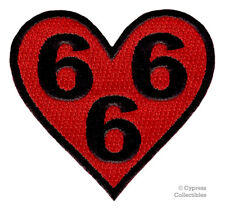 RED 666 HEART - IRON-ON PATCH NEW EMBROIDERED DEVIL SATANIC EVIL NUMBER BEAST