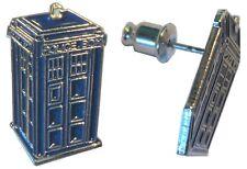Doctor Who Tardis Polizia Time Machine Call Box SILVER PLATE METALLO enaml Orecchini