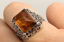 cognac amber Rectangular solid Sterling Silver ring, uk size O1/2, new, UK.