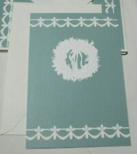 Vintage Hallmark Tiffany Blue White Wreath Christmas Card Lot of 8 Cards New