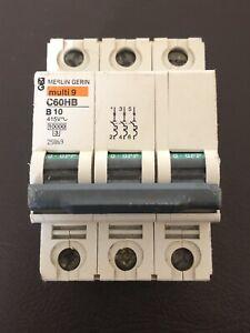 Merlin Gerin Multi 9 C60HB B10 25869 10A TYPE B MCB 3 MODULE POLE 10kA BREAKER