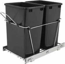 Pull Out Kitchen Cabinet Waste Bin Container Double 35 Quart Sliding