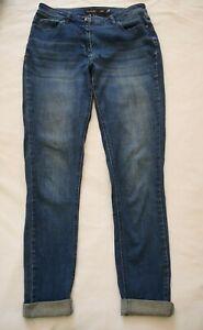 LONG TALL SALLY Blue Skinny JEANS Size UK 10 Denim Cuffed Hem Stretch Pockets