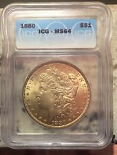 1880-P MORGAN SILVER DOLLAR NORMAL DATE UNCIRCULATED CERTIFIED MS 64 BY ICG HOT