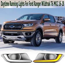 Front L+R COB LED DRL Daytime Running Light For Ford Ranger T6 MK2 2016-2018 !