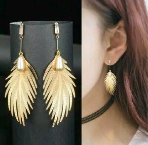 Big Long Leaf Earrings Gold Drop Dangle Feather Faux Pearl Rhinestone Leaves