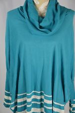 Fever Womens Medium Teal Blue White Loose Fit Cowl Neck Sweater DolanLong Sleeve