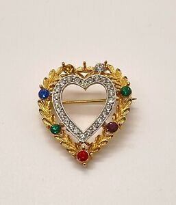Vintage JJ Brooch Pin Golden Wreath Heart Multi Colored Stones And Crystals
