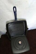 Staub Cast Iron Square Grill Pan & Press Set 12-Inch Cobalt Blue Lite Used Nice