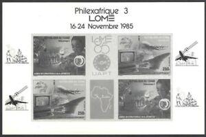 Chad 1985 Philexafrique 3 miniature sheet UNISSUED? photographic proof