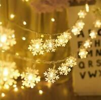 50 LED solaire guirlande lumineuse flocon neige fée lampe jardin extérie SH