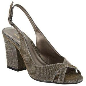John Lewis Darling Gold Block Heel Evening Shoe, Sparkly Size UK 4, EU 37