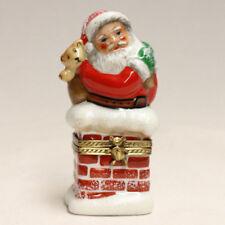 Beautifully Handcrafted Porcelaine de Limoges Trincket Box Santa Christmas