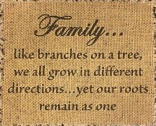 Primitive Burlap Banner Panel Family Branches On Tree Wedding Valentine New 8x10