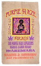 PURPLE HAZE BURLAP BAG #25 feed bags gunny sack novelty marajuana pot leaf decor