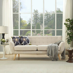 Sofa Couch - Mid-Century Modern Tufted Beige Upholstered Fabric Living Room