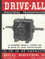 Drive-All Industrial Transmission Brochure 1940s Detroit Michigan
