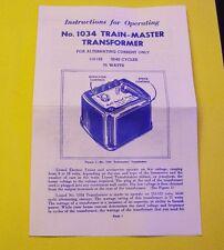 LIONEL 1034 75 WATT TRANSFORMER INSTRUCTION SHEET MINT LOOK!