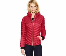 Michael Kors Chevron Packable Quilted Hooded Down Puffer Jacket Coat M Red