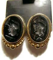 Vintage BEN-AMUN Large Gold Plated Black Intaglio Roman Soldier Clip Earrings