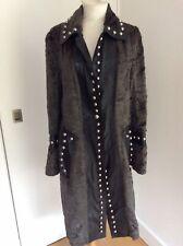 Anna Biagini Vintage Women's Black Real Leather & Grey Fur Studded Long Coat, M