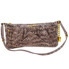 Authentic MIU MIU Logos Shoulder Bag Python Skin Leather Pink Italy 01V116