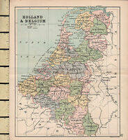C1880 Victoriano Mapa ~ Holland & Bélgica
