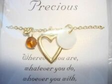 precious jewelry gold tone heart amber charm necklace
