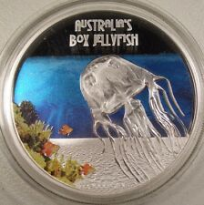2011 TUVALU DEADLY AND DANGEROUS BOX JELLYFISH 1 oz. PROOF SILVER COIN BOX/COA