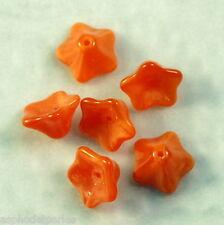6 perles fleur trompette en verre de Bohème 8x13mm opal orange