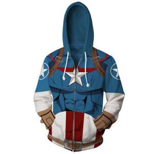 Captain America Hoodie Anime Sweatshirt Cosplay Costume Zipper coat jacket