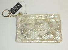 Yellow Coin Purse Faux Snake Skin Metallic Key Ring Zipper Card Slots New
