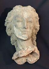 18ème rare sculpture tête buste femme terre cuite 10.5kg45cm visage statue