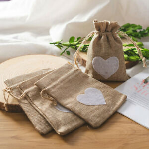 20 Hessian Drawstring Gift Bags Fabric Linen Christmas Pouch Wedding Favours