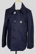JCrew Crewcuts $150 Boys Wool Mighty-Mac peacoat M Medium(10-11) Navy Blue 06403