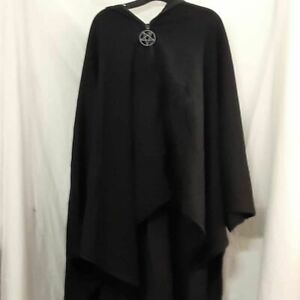 Killstar Womens Enchanter Cloak Black Hooded Stretch Faux Fur Pentagram XXL New