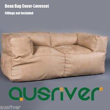 Beige Suede 2 Person Couch Bean Bag Cover Fashion Living Room Furniture BB2PBGE