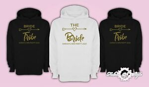 Personalised Hen Do Party Bride Tribe 2021 Ladies Female  Gold Hoodie