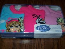 Girls Disney FROZEN No Show Socks in Collectible Tin Sz 6 - 81/2 NEW THREE PAIRS
