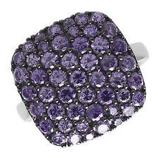Cocktail Ring echt Silber 925 Sterlingsilber rhodiniert mit Zirkonia lila pavé